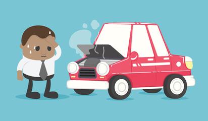 Foto auf Leinwand Cartoon cars African businessman worried about his car breakdown