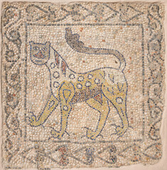 RAVENNA, ITALY - JANUARY 29, 2020: The detail (leopard) of early christian mosaic pavement from elder builidng in the Chiesa di San Giovanni Evangelista church.