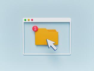 Obraz minimal design. folder and cursor icon in computer window. 3d rendering - fototapety do salonu