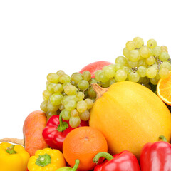 Fruits and vegetables isolated on a white background. Free space for text.