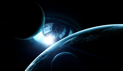 Fototapete - Human eye and space. Elements of this image furnished by NASA.