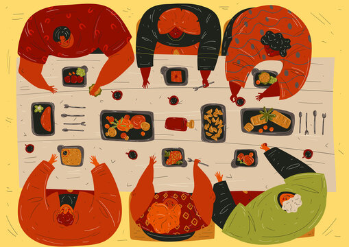 Knolling food concept. A group of diverse people or friends are sitting at the table and eating the food from the delivery. Men and women eat healthy and junky foods. Funny cartoon flat characters.