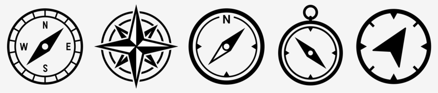 Compass icon set. Compass symbol. Vector