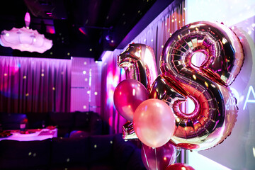balloons 18 years old in a nightclub birthday Wall mural