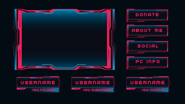 Streaming interface windows. Red frames with control panels broadcast of online games presentation and review of cyber players futuristic vector dark background.