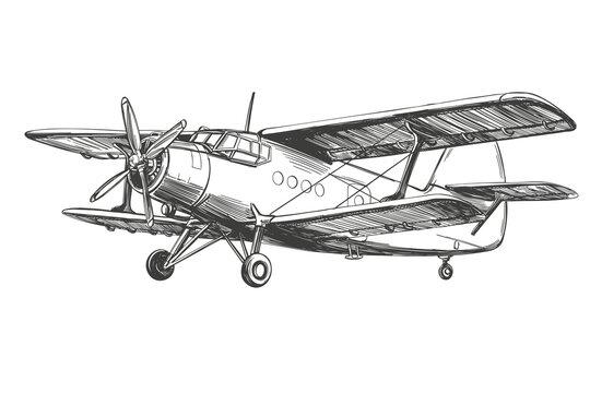 airplane vintage hand drawn vector llustration realistic sketch