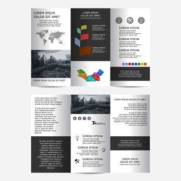 Tri fold brochure design with place for photo. Abstract, trend and creative concept tri-fold design.