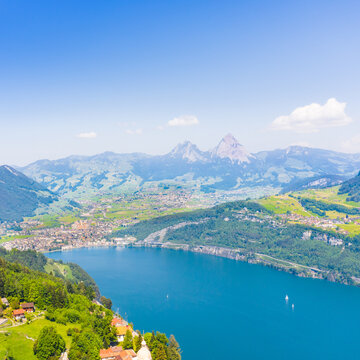 Panoramic aerial view of the canton  Schwyz in central Switzerland.  Mountain peaks Great Mythen 1898 m and Small Mythen 1811 m