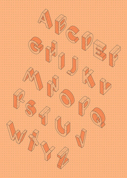 Isometric vector font, Engineering style alphabet for posters and headings,