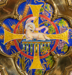 BARCELONA, SPAIN - MARCH 3, 2020: The modern enameled Lamb of God on the tabernacle in the church Parroquia de la Mare de Deu de Nuria.