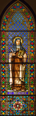 BARCELONA, SPAIN - MARCH 3, 2020: The St. Therese of Avila on the stained glass in the church Parroquia de la Mare de Deu de Nuria.