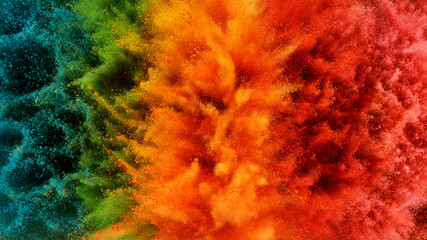 Fototapete - Abstract coloured powder explosion background