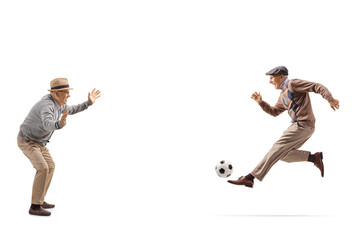 Two grandfathers playing soccer
