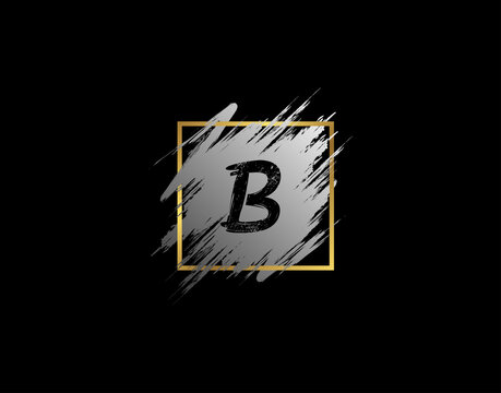 B Letter badge with Grunge Brush Stroke and Gold Frame. Vector logo template with Initial and signature style.