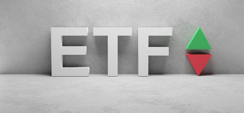 cgi render image of the word ETF, abbreviation for exchange-traded fund, red and green up and down arrow