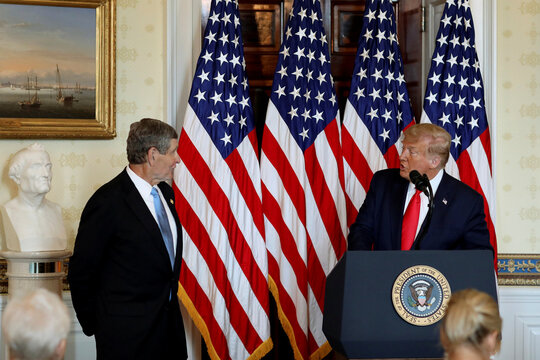 U.S. President Trump awards Presidential Medal of Freedom to Olympian Jim Ryun at the White House in Washington
