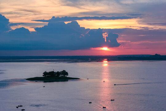 Beautiful sunset on the upper lake, Bhopal, Madhya Pradesh, India.