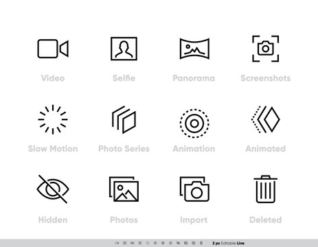 Media Files vector icon set. Camera And Photography set with Selfie, Panorama, Screenshots, Slow Motion, Photo, Series, Animation, Animated, Hidden Photos, Import and Delete Line icons for Photo App