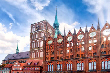 The Old Market (Alte Markt) in the German Hanseatic city of Stralsund is the center of the historic Old Town, which has been a UNESCO World Heritage Site since 2002.