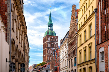 View to the St. Nicholas Church in the old town of Stralsund, Germany