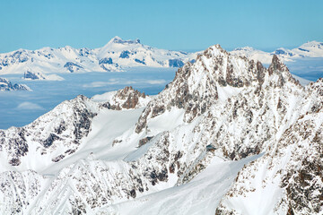 Aerial view of Chamonix valley mountains Montblanc in France in winter
