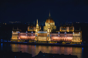 Night aerial view of Parliament building in Budapest, Hungary