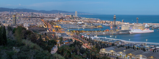 Wall Murals Kiev Barcelona - The panorama of the city with the harbor at the dusk.