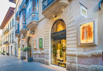 Palma de Mallorca, Majorca, Spain - December 2018: Rialto Living store in the old town center