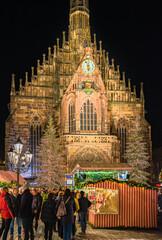 Nuremberg, Germany - December 2018: People explore the famous christmas market in Nuremberg