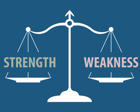 strength and weakness on scales, vector illustration