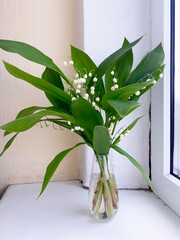 A bouquet of lys in a small glass transparent vase on a wide white plastic window sill. Spring flowers.