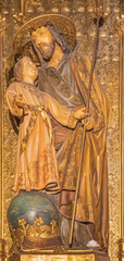 BARCELONA, SPAIN - MARCH 5, 2020: The carved polychrome sculpture of St. Joseph in the church Església de la Concepció from 20. cent.