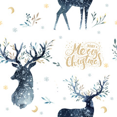 Wall Mural - Watercolor winter forest seamless pattern with deer. Christmas tree landscape with Pine Trees fir in mountains. Hand painted Background. Snow holiday design.