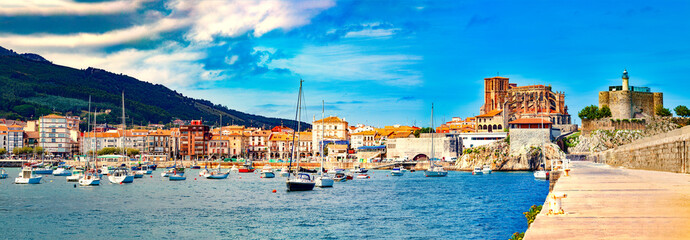 Coastal towns of Spain.Castro Urdiales.Cantabria.Fishing village and Boat dock. Scenic seascape.tourism in Spain