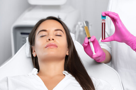 Beautician will do PRP therapy for the face against wrinkles