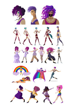 lgbt beautiful characters happy collection