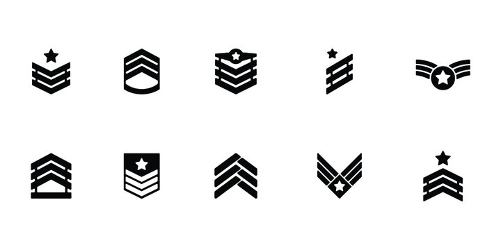 Collection of military rank icon or logo isolated on white background