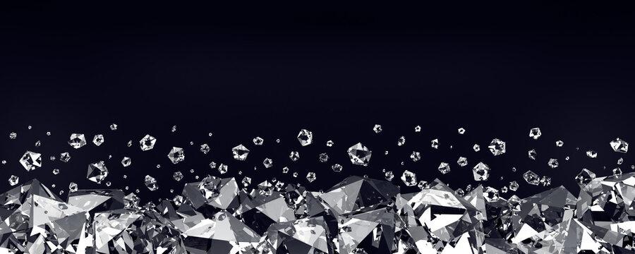 Diamonds on a black background. 3d render