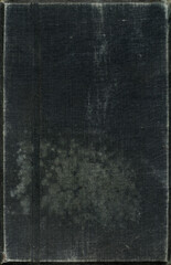 Textile texture. Black old book cover. Rough canvas surface. Blank retro page. Empty place for text. Perfect for background and vintage style design.