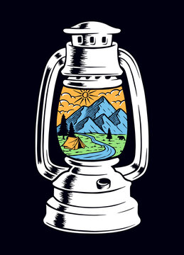 View of the mountain and old lamp vector illustration