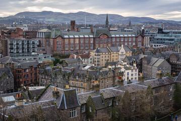 Lauriston Campus of University of Edinburgh, Scotland, Uk - view from Edinburgh Castle Esplanade