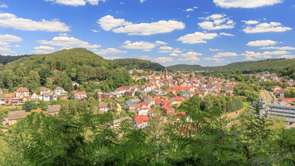 Scenic view to Rodalben from the Bruderfelsen hiking trail