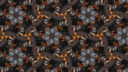 Abstract Hex Kaleidoscopic Fractal Design For Background. Decorative Graphic Illustration with...