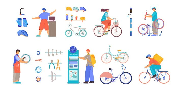 Bicycle Business Flat Set
