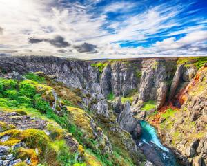 Wall Mural - Marvelous view of  Kolugljufur canyon and Kolufossar falls.