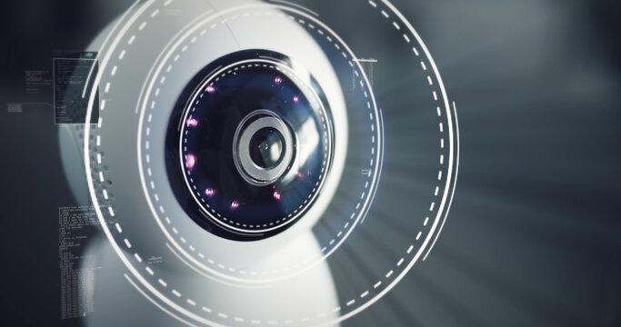 Robot home futuristic security camera scanning home