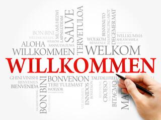 Willkommen (Welcome in German) word cloud, concept background