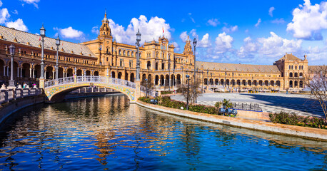 beautiful plaza Espana in Seviglia, Spain. Landmarks and travel in Andalusia