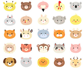 big vector set of animals.isolated on white background.