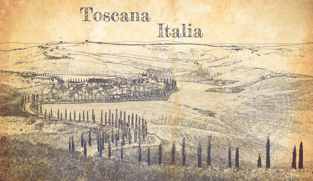 Sketch of winding road with cypresses in Tuscany, Italy